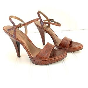 Marc Fisher Brown Leather High Heel Sandals 6.5